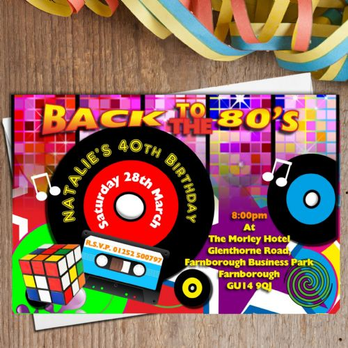 10 Personalised Retro 80's eighties Birthday Party Invitations N179
